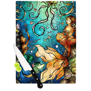 "Mandie Manzano ""Under the Sea"" Mermaids Cutting Board"