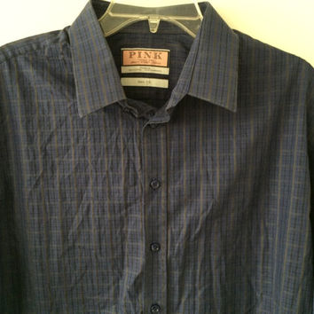 Sale!! Vintage mens Thomas Pink brand Jermyn street London casual button up long sleeve cotton Shirt Size 17.5 / 44 Free shipping within USA