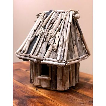 Large Square Driftwood Thatched -- Birdhouse