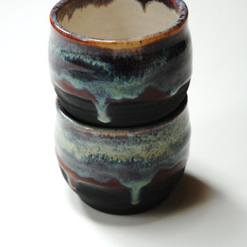 Yunomi cups,wine tumblers,pottery cups,teacups,espresso cups,stoneware mug,no handle cups,pottery dinnerware,canadian pottery,stoneware cups