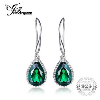 JewelryPalace 8.5ct Created Emerald Drop Earrings 925 Sterling Silver Retro Vintage Jewelry For Women
