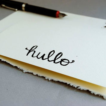 Ivory Blank Notecard - Cursive Typography Hullo Linocut  - 5 x 7 inches