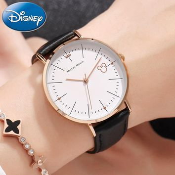 Original Disney Women Mickey Mouse Ultrathin Watches Pretty Girl Gift Charming Leather Quartz Cheap Watch Female Unbeatable Hour