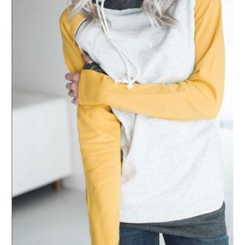 White Drawstring Zipper Pockets Cowl Neck Double Hooded Long Sleeve Casual Sweatshirt
