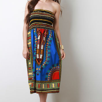 Dashiki Print Smock Tube Dress | UrbanOG