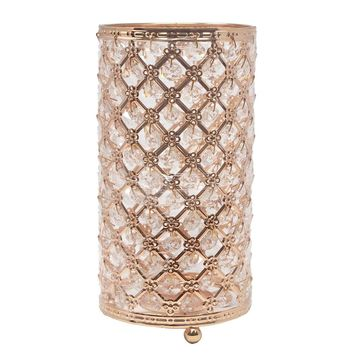 Metal Crystal Candle Holder with Hanging Beads, Rose Gold, 9-1/2-Inch