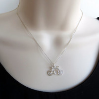 Bicycle Necklace. Sterling Silver Bicycle Necklace. Dainty Charm Necklace.