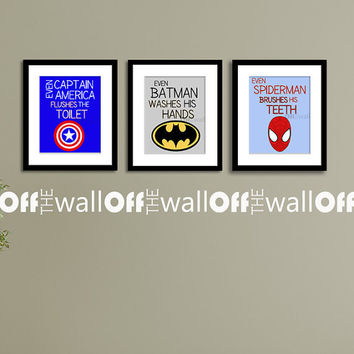 "Superhero Bathroom Art Prints - Set of 3 8x10 - ""Even Batman Washes His Hands"" Etc."