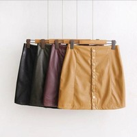 Single Breasted Leather Skirt