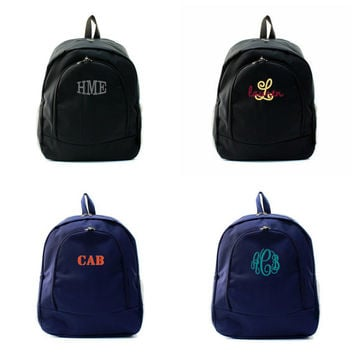Personalized With Embroidery Solid Navy Blue or Black Large 16 Inch School Backpack For Girls and Boys