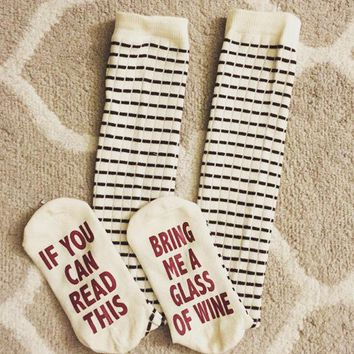 ONETOW If you can read this' Winter Cotton Unisex Stockings [9575806351]