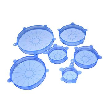 6pcs/set Silicone Suction Lid-bowl Pan Pot Anti-spill Leaky Silicon Lid Stretch Sealed Fresh Cover Pan Lid Stopper Vacuum Cover