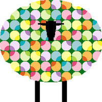 Silhouette of a sheep on little grazing colourful sheep. Cross stitch pattern