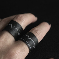 Heart Beat Pattern Faux Leather Ring