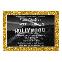 Glitter Old Time Hollywood Sweet 16 Invitation