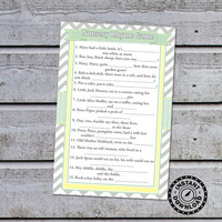 Baby Shower Games Nursery Rhyme Baby Shower, Word Scramble Game Baby Babble (88) Instant Download
