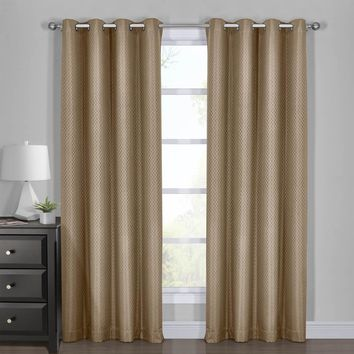TAUPE 108x108 100% Blackout Curtain - Diamond Jacquard Woven Drape Theme (Set of 2)