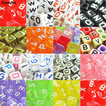 U Pick 18 Colors 100pcs 6mm Mixed Alphabet Cubic Letter Beads Acrylic Spacer Beads For Loom Band Bracelet