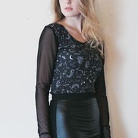 Night Creatures - Eve & Lilith inspired black shirt with sheer sleeves