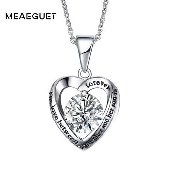Meaeguet AAA+ Cubic Zirconia Heart Pendant For Necklace Stainless Steel Love Forever Between a Mother and Her Son & Daughter