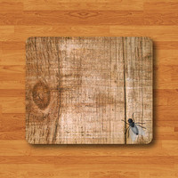 Fly On The WOOD Funny Insect Mouse Pad Cartoon Joke Desk Deco Rubber Pad Natural Soft Fabric Rubber Backing MousePad Batik Christmas Gift