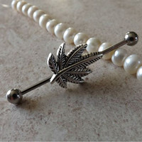 Industrial Barbell With Pot Leaf Body Jewelry Ear Jewelry Double Piercing
