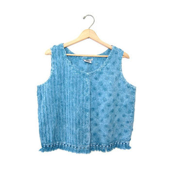 Washed Out BLUE Tank Top Boho Minimal Cropped TEXTURED soft Blue cotton Chambray Crop Shirt. Fringed Oversized Loose Fit Vintage Womens XL