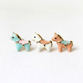 Cute Horse Earrings / choose your color- Mint, White and Peach