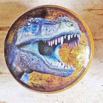 Dinosaur Rex Knob, Handmade Drawer Pulls, Blue Reptile Creature Cabinet Pull Handles, Boys Room Kids Decor, Reptile Knobs, Made To Order