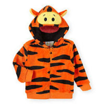 Disney Baby Boys Orange Tigger Zip Front Plush Jacket with Character Hood