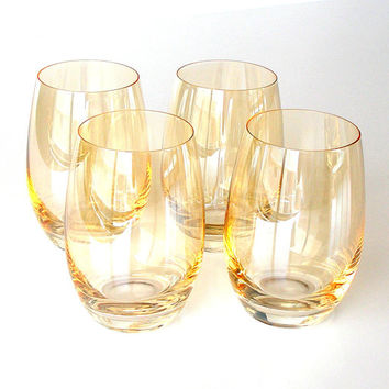 Vintage Crystal Glassware Orange Hombre Cocktail Highball Glasses