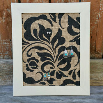 Burlap Earring Holder, Framed Earring Organizer, Beige Frame with Black Floral Burlap, Necklace Holder Knob