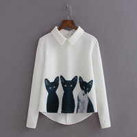 2016 New Fashion Cats Printed Pullover Shirts Long Sleeve Casual Women Korean White Blouse Hot T2