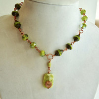 Green Czech Glass Necklace and Peridot Japer Pendant