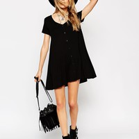 ASOS PETITE Exclusive Swing Dress With Button Front
