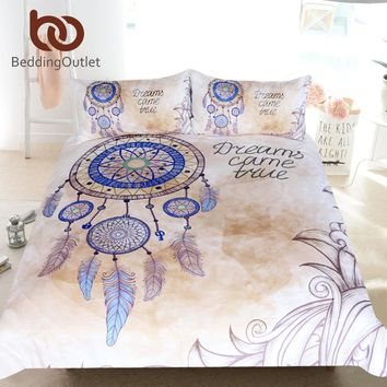 BeddingOutlet Dreamcatcher Bedding Set Queen Feathers Print Duvet Cover Bohemian Bedclothes 3pcs Dreams Come Ture Home Textiles