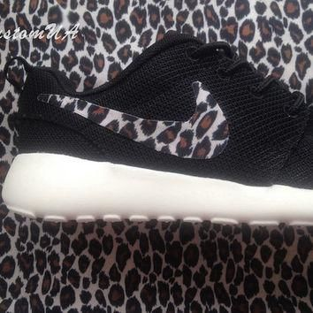 Custom Nike Roshe Run athletic shoes with leopard print