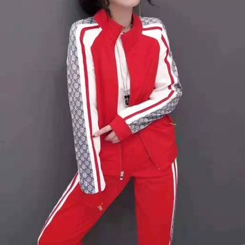 Woman's Leisure Fashion Personality Letter  Printing Spell Color  Zipper Long Sleeve Tops Trousers Two-Piece Set Casual Wear