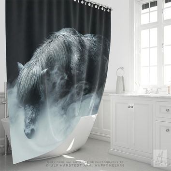 Shower Curtain With Moody Horse Photography Print, Bathroom Decor, Black And White, Original Photography, Home Decor, Shower Decor, Gifts
