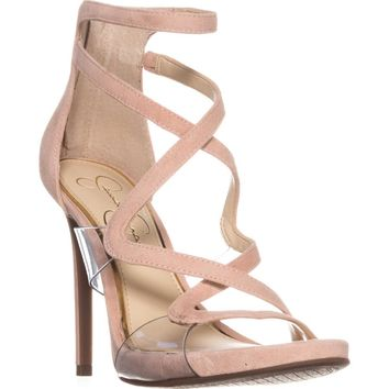 Jessica Simpson Roelyn Heeled Strappy Sandals, Nude Blush, 8 US / 38 EU