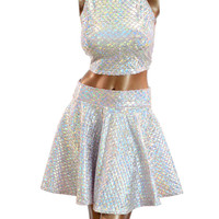 Pink & Silver Scale Sleeveless Crop Top & Circle Skirt Set