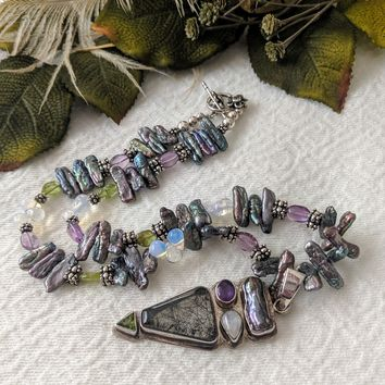 Artisan Crafted Unique Sterling Gemstone Necklace