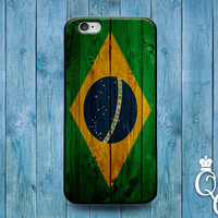 iPhone 4 4s 5 5s 5c 6 6s plus + iPod Touch 4th 5th 6th Generation Brazil National Pride Country Flag Nation Cover Cute Green Wood Fun Case