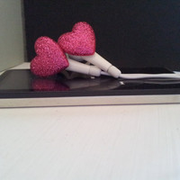 Mini Glitter Heart Earbuds