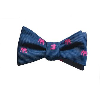 Elephant Bow Tie - Pink on Navy, Woven Silk