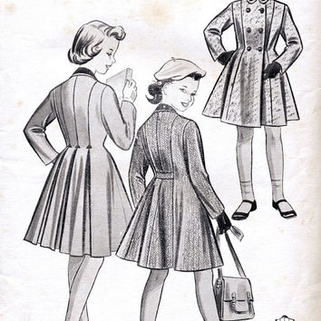 1950s Girls Coat. Princess Style. Vintage Sewing Pattern. Unused. Le Roy Pattern 2030. Chest 24""