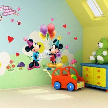colorful heart flora Mickey Mouse wall stickers for kids rooms party home decor cartoon wall decals diy poster pvc mural art