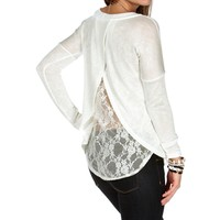 Off White Lace Envelope Back Top