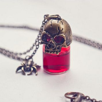 Couple Blood Bottle Prank Necklace