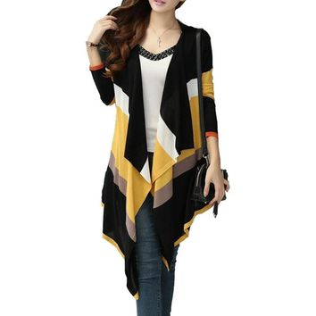 Stripes Rainbow V-neck Long Sleeve  Ladies Casual Sweater Cardigan